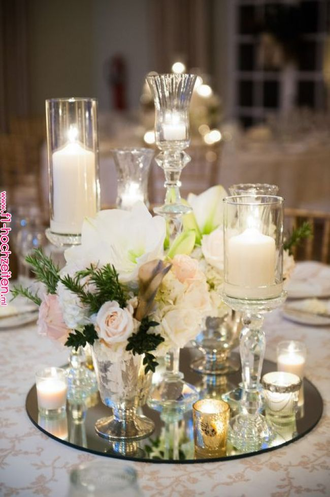 Candles And Crystal A Romantic Combination Tkaufmanevents Wedding Table Decorations Wedding Table Wedding Centerpieces