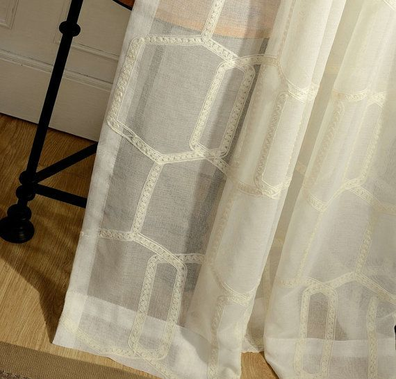 Two Beehive Sheer Curtains Custom Made to Order by HereIsTheShop