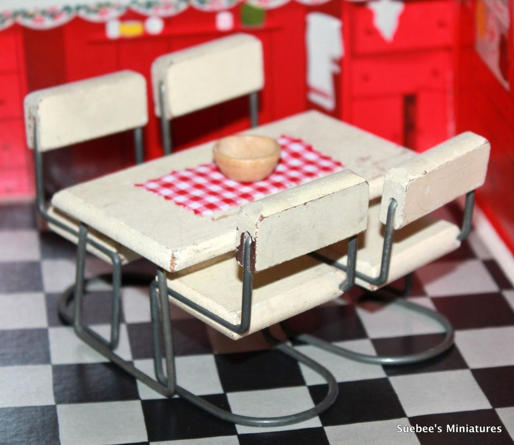 Dollhouse Kitchen Furniture Kage 1938 48 Rare Kitchen Table Chairs Vintage Dollhouse