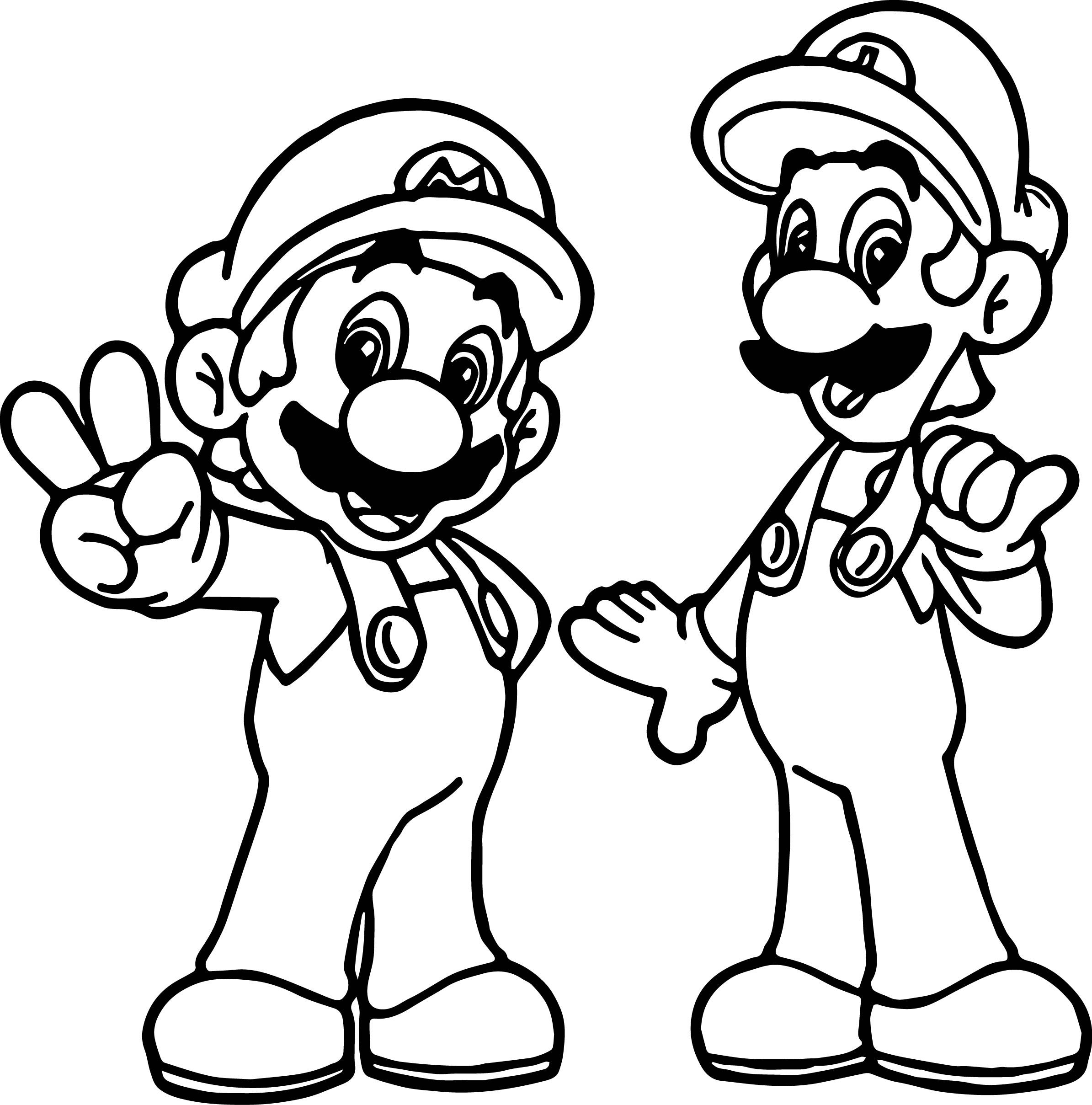 Cool Super Mario And Luigi All Right Coloring Page Mario