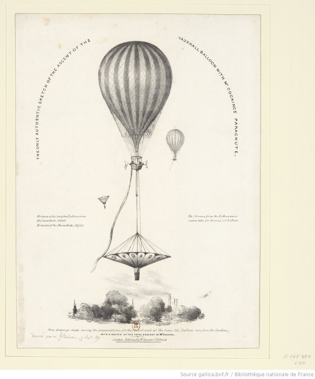 The Only Authentic Sketch Of The Ascent Of The Vauxhall Balloon With Mr Cockings Parachute From Drawings Made During The Preparations For The Asc Estampe Bnf