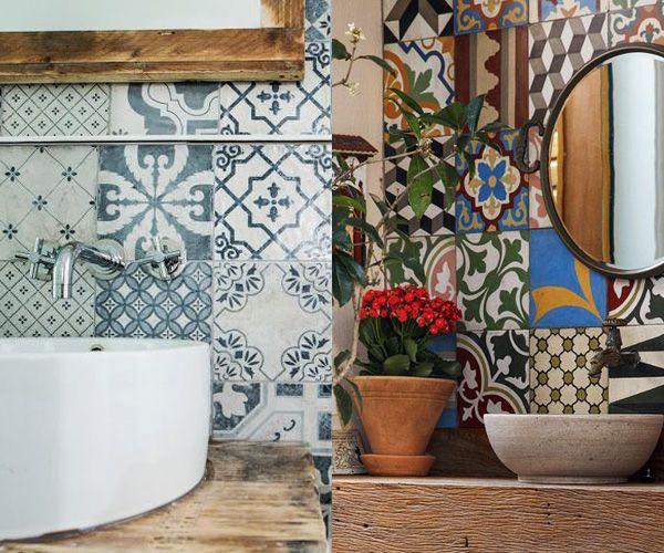 decoração de lavabos pequenos com azulejos hidraulicos - Pesquisa - lavabos pequeos