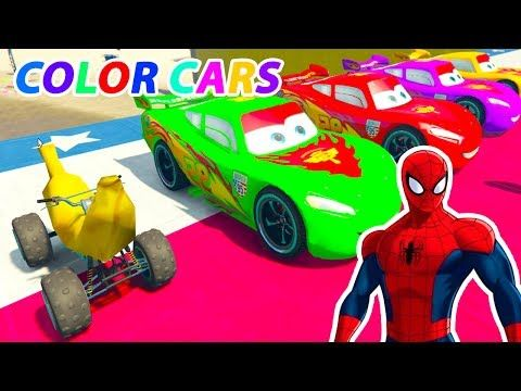 Learn Color For Kids Learn Nursery Rhymes Song Banana Car In Spiderman Cartoon Videos With Color