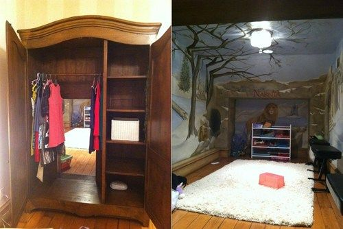 Real-life Narnia/ secret reading room! So much envy!