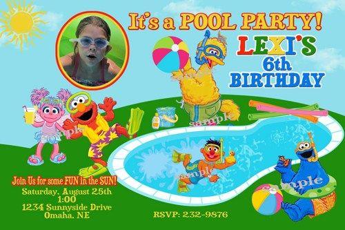 Sesame Street Pool Party Birthday Invitations Printable Swim Elmo Abby Cadabby