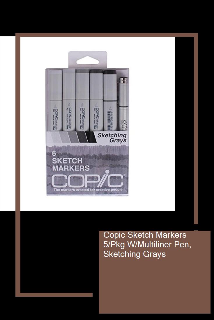 Copic Sketch Markers 5 Pkg W Multiliner Pen Sketching Grays Hot Sketch Markers Copic Sketch Markers Copic Sketch
