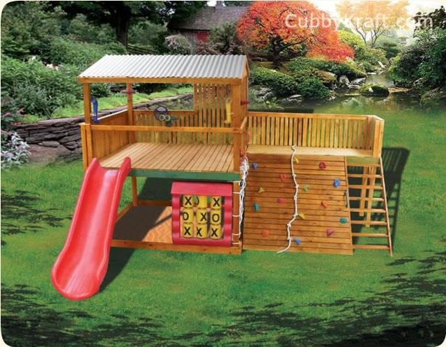 Safari Pak Wooden Playground Equipment Cubby House Fort