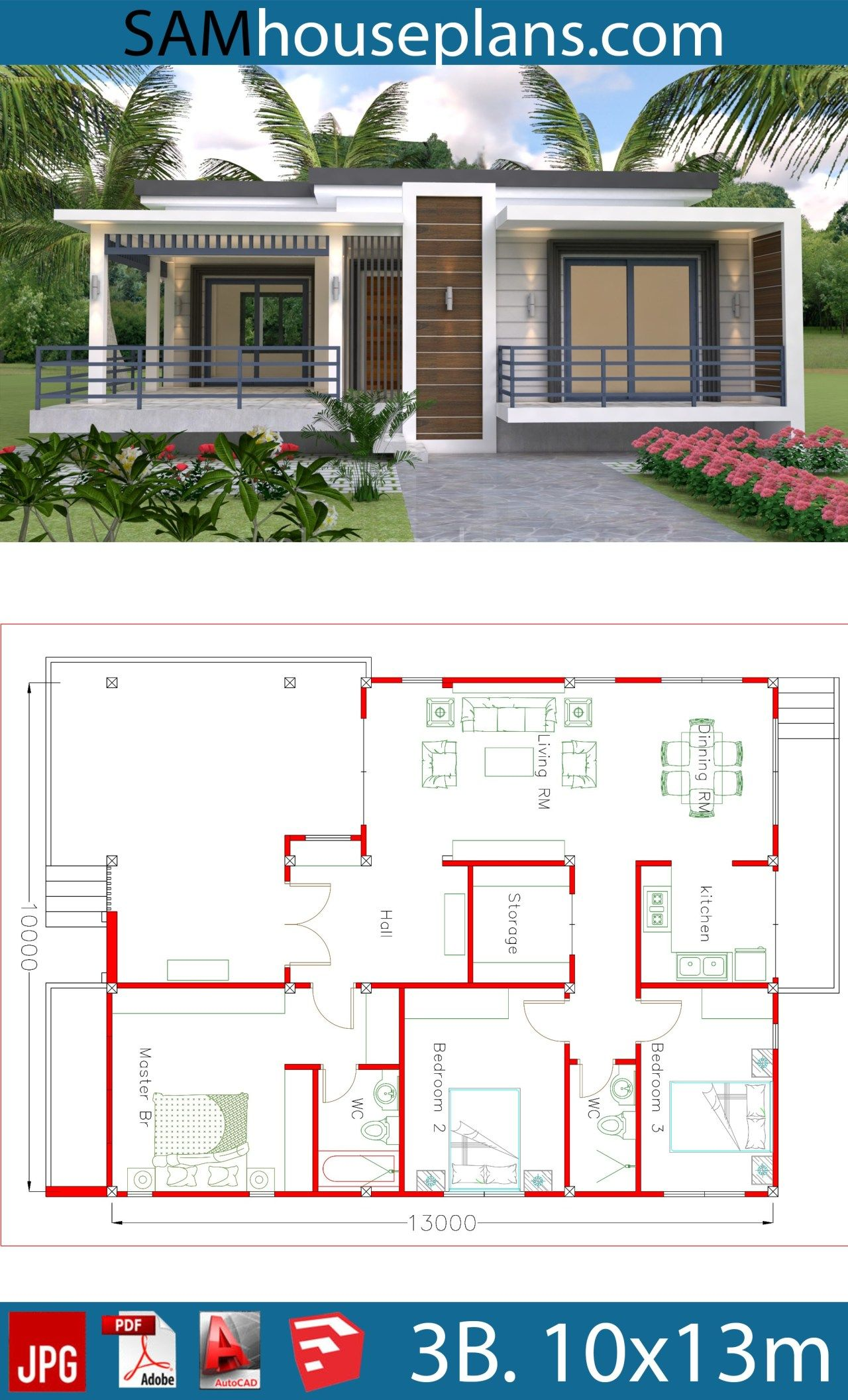 House Plans 10x13m With 3 Bedrooms Sam House Plans Beautiful House Plans Small Modern House Plans My House Plans