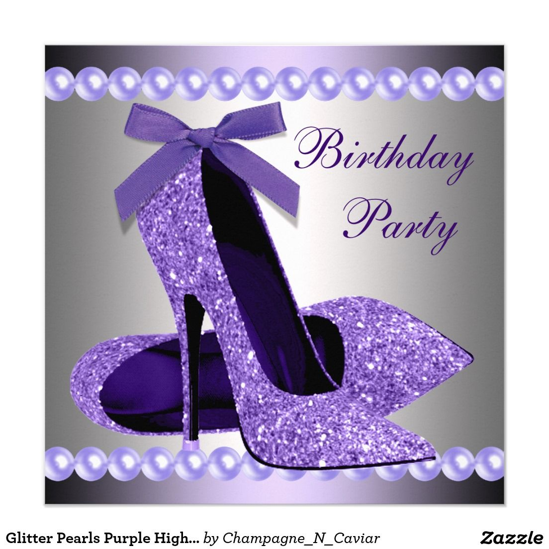 Glitter Pearls Purple High Heels Shoes Birthday Card | Bachelorette ...