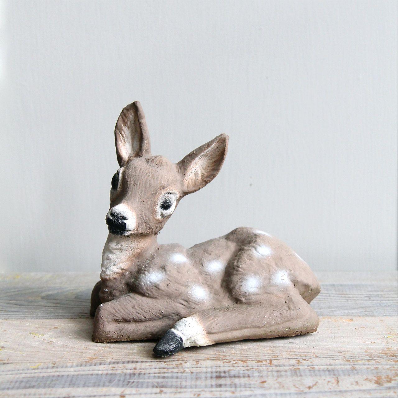 Reserved Vintage Deer Cement Garden Ornament Cement 640 x 480