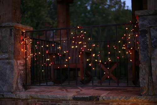 Halloween Icicle Lights on Gate- great spooky Halloween decorating - good halloween decoration ideas