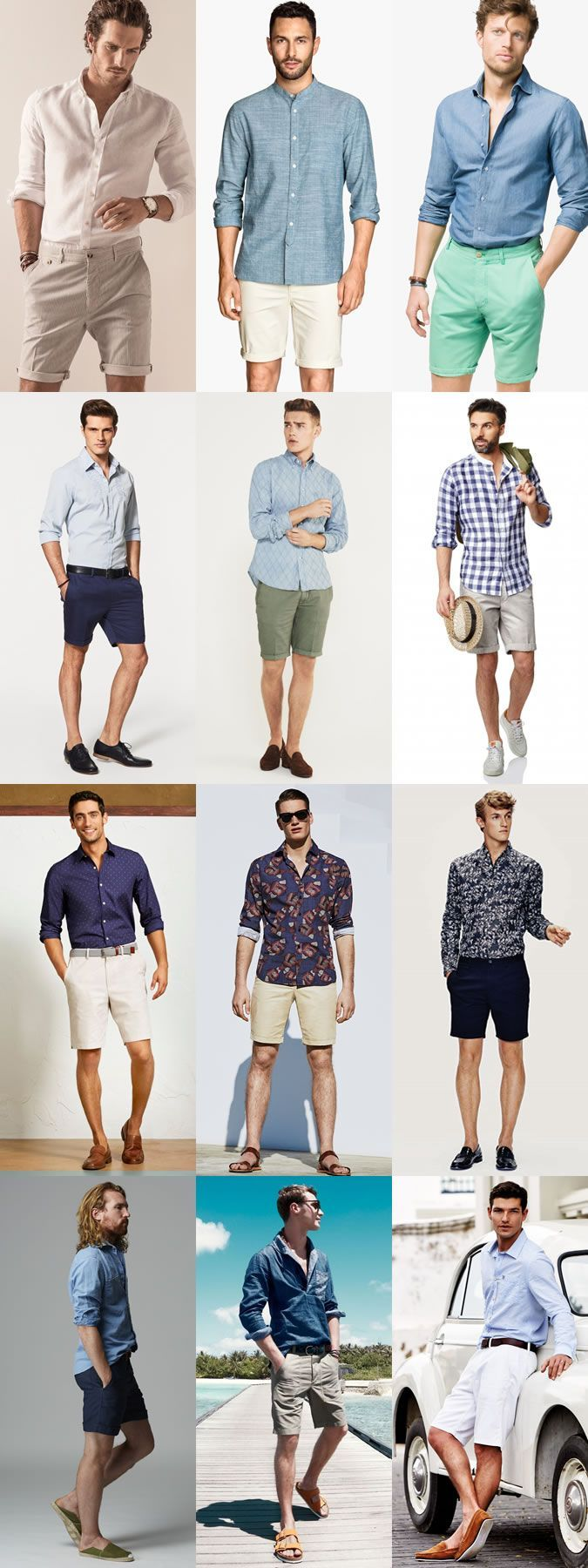 Men S Go To Smart Casual Summer Outfit Combinations Long Sleeved Shirt And Shorts Combination Ins Mens Summer Outfits Summer Outfits Men Casual Summer Outfits [ 1800 x 675 Pixel ]