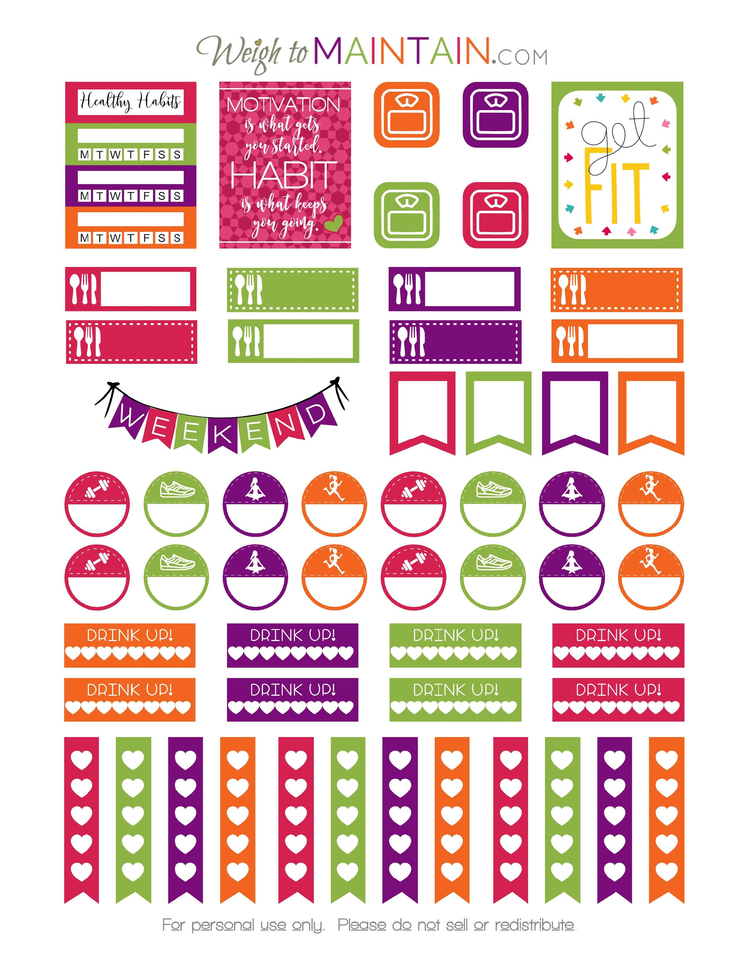 FREE Printable Healthy Habits Stickers In Bright Colors