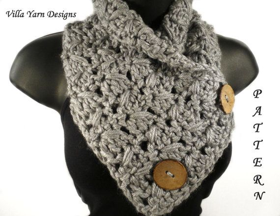 Easy Crochet Pattern For Cowl Scarf With Buttons This Is A Pattern