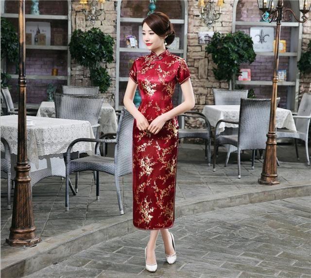8e19c2369 Black Red Chinese Traditional Dress Womens Silk Satin Cheongsam ...