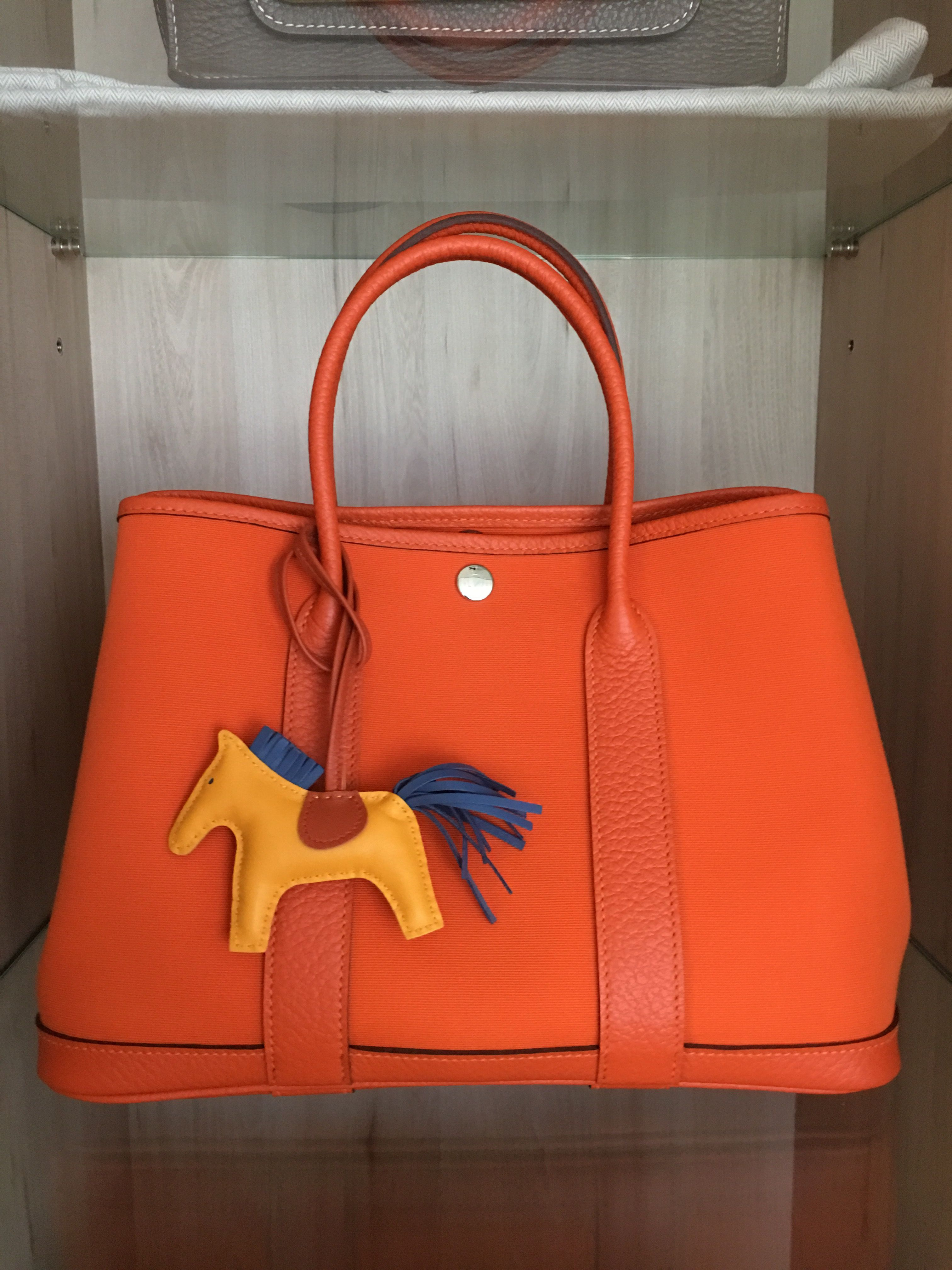 Model  Hermes Garden Party 30 Year  2016 Color  Orange Leather  Canvas  39f5cf6239