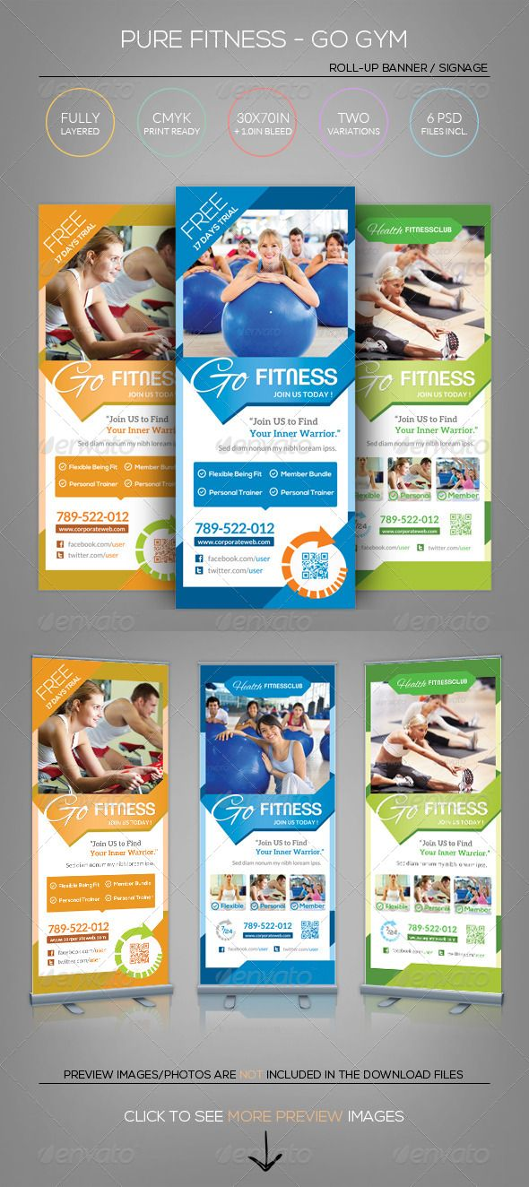 Pure Fitness - Go Gym - Roll-Up Banner Template Banner template - gym brochure