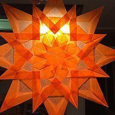 Photo of Transparent-Faltstern 16-zackig Orange Durchmesser: 25cm mit PDF-Faltanleitung w…