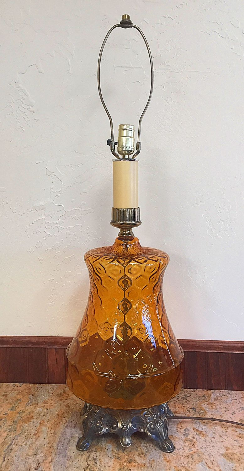 Amber Glass Table Lamp Honeycomb Pattern By MarymereVintage
