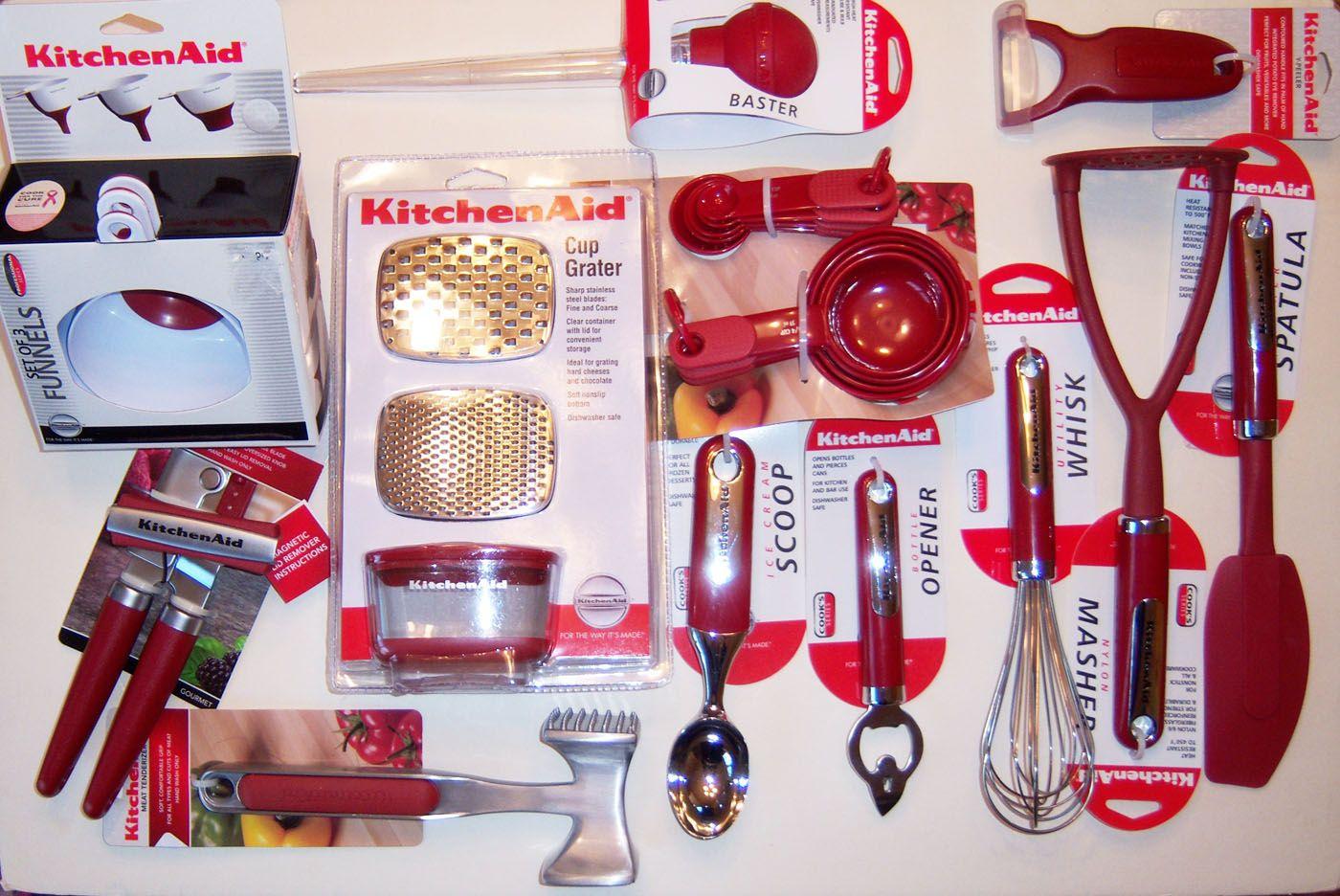 Kitchenaid empire red kitchen utensils linens choice of
