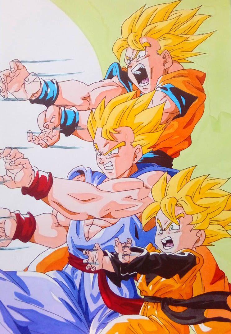 Goku Gohan And Goten Family Kamehameha By Daisuke Dragneel Dragon Ball Super Manga Anime Dragon Ball Super Gohan And Goten