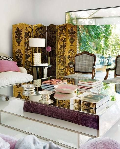 Gorgeous!  Love the mirrored coffee table.