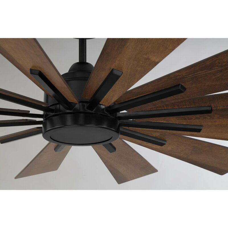 60 Clayton 12 Blade Led Windmill Ceiling Fan With Remote Control And Light Kit Included Fan Light Fixtures Ceiling Fan Modern Ceiling Fan 60 inch outdoor ceiling fan