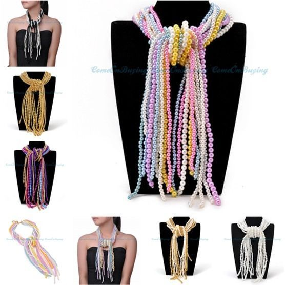 Fashion Jewelry Colorful Beads Adjustable Long Chain Statement Cluster Necklace #Statement