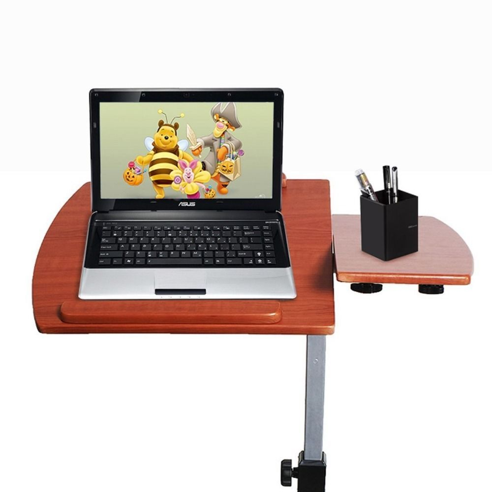 Adjustable Rolling Laptop Table Desk Cart Stand Angle Height Wheels Notebook  New