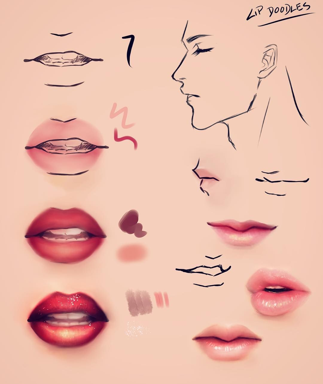 Digital Art Lips Tutorial By Satan Jnr Mouth Drawing Reference