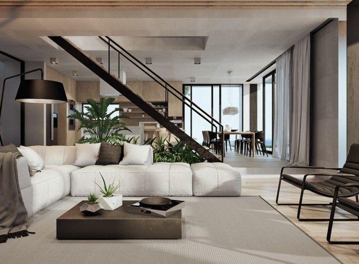 modernes wohnen wohnzimmer mit ecksofa ausstatten | Interieur ...