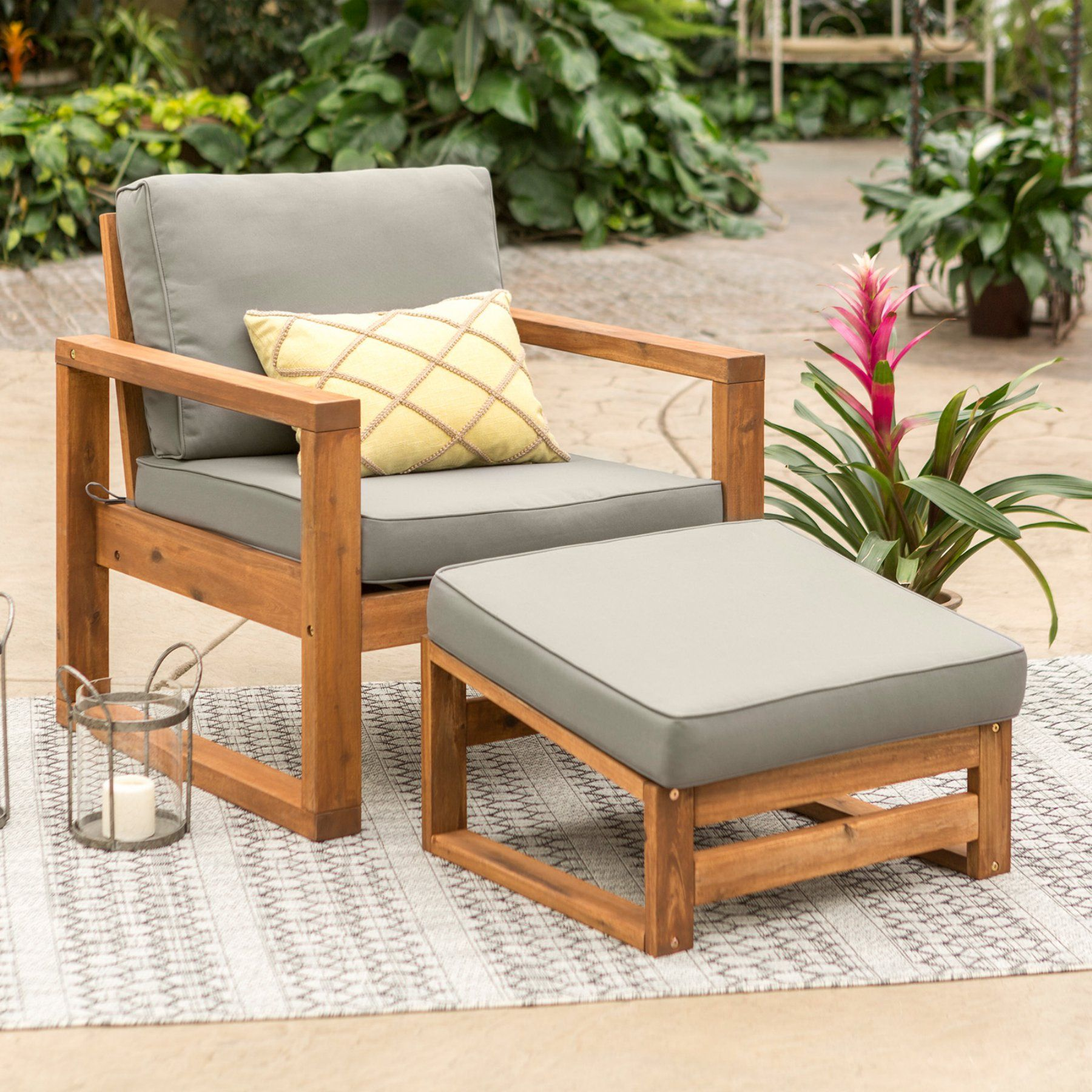 Walker Edison Open Side Patio Chair And Ottoman With Cushions
