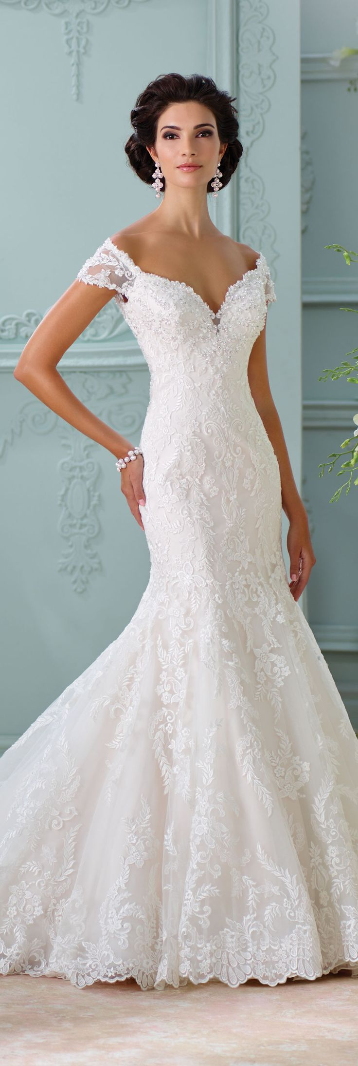 Simple off the shoulder wedding dresses  The David Tutera for Mon Cheri Spring  Wedding Gown Collection