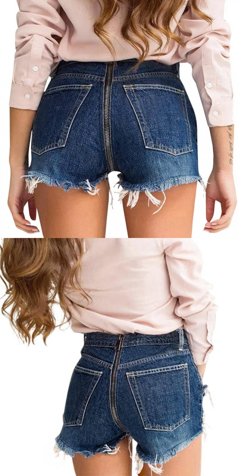 36404dc35d8 Women s back zipper denim shorts pants tassel wide-leg trousers jeans  casual solid high waist all-match summer sexy short pants  women  jeans   none  medium ...