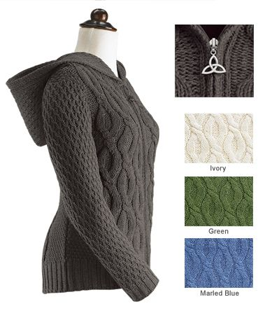 Irish Cable Knit Sweater Women Women s cable-knit hoodie sweater the  classic texture of irish knitting has 80ee5b129