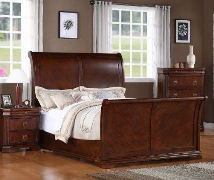568.00 Amazon.com - Elements Kensington Sleigh Bed, King - | Bedding ...