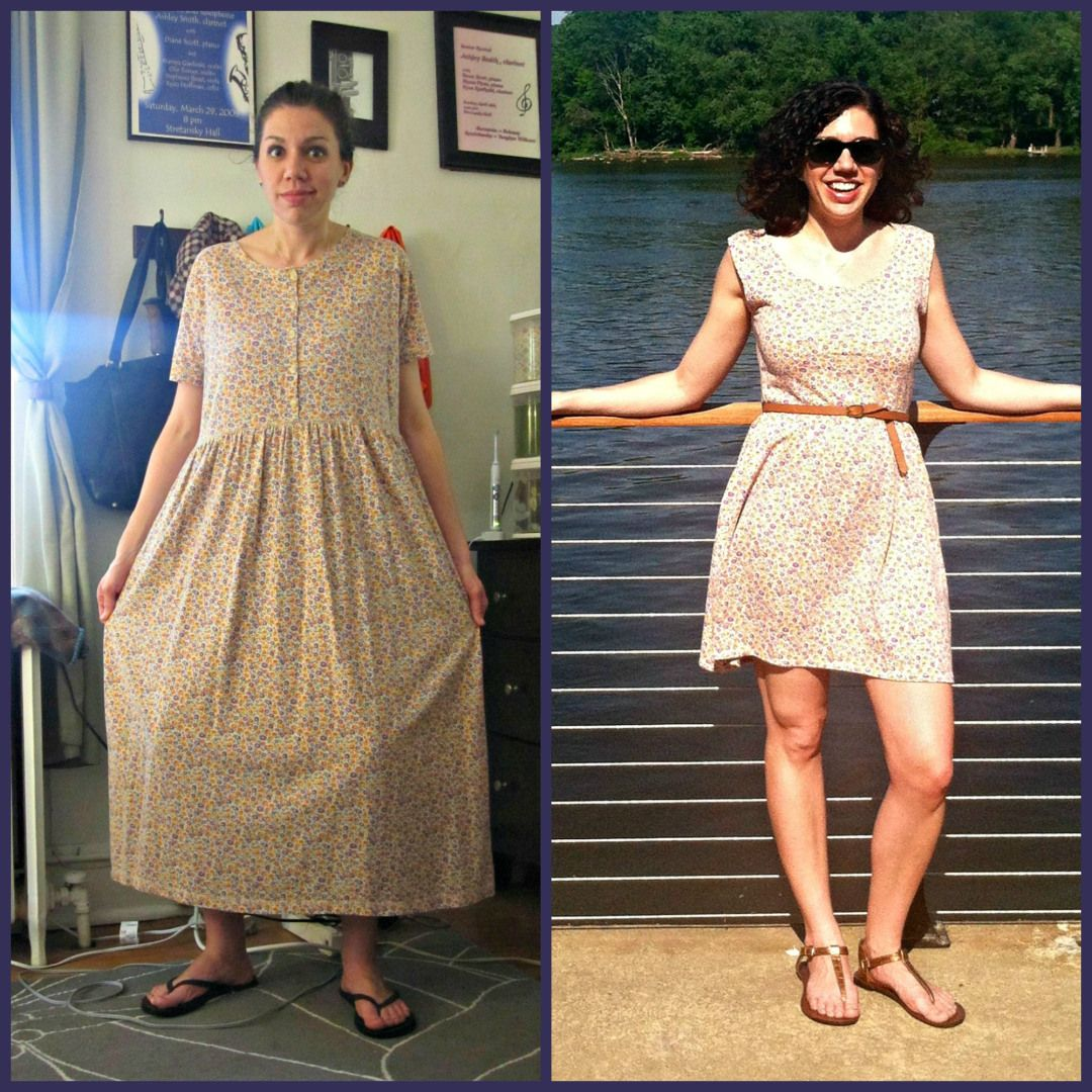 Refashion dress to shirt refashionista