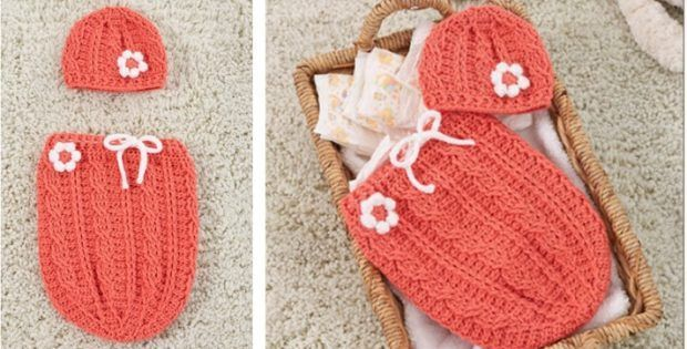 Just Peachie Crocheted Cocoon Set [FREE Crochet Pattern] - Baby - #Baby #Cocoon #Crochet #crocheted #Free #Pattern #Peachie #set #crochetbabycocoon