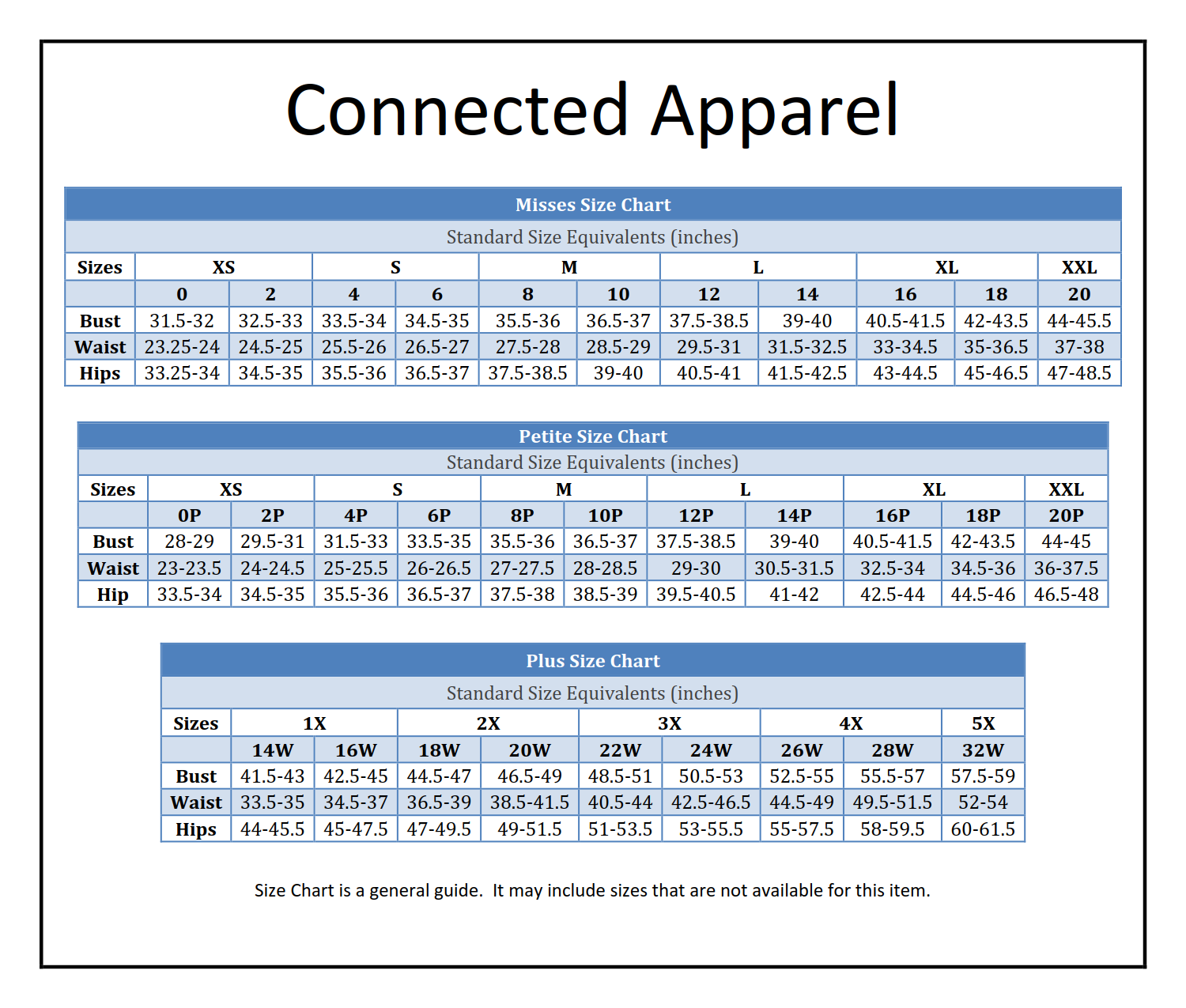 Connected Arel Via Boscovs Brand Names Size Chart Charts Connection Graphics