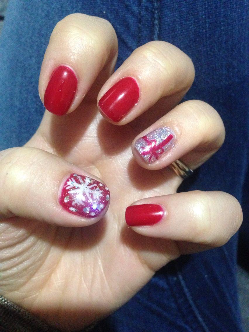 Mes ongles personnalisé pour Noël ! Fait au semi,permanent