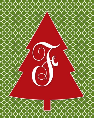 Free Monogram Christmas Tree Printable | El arbol de navidad ...