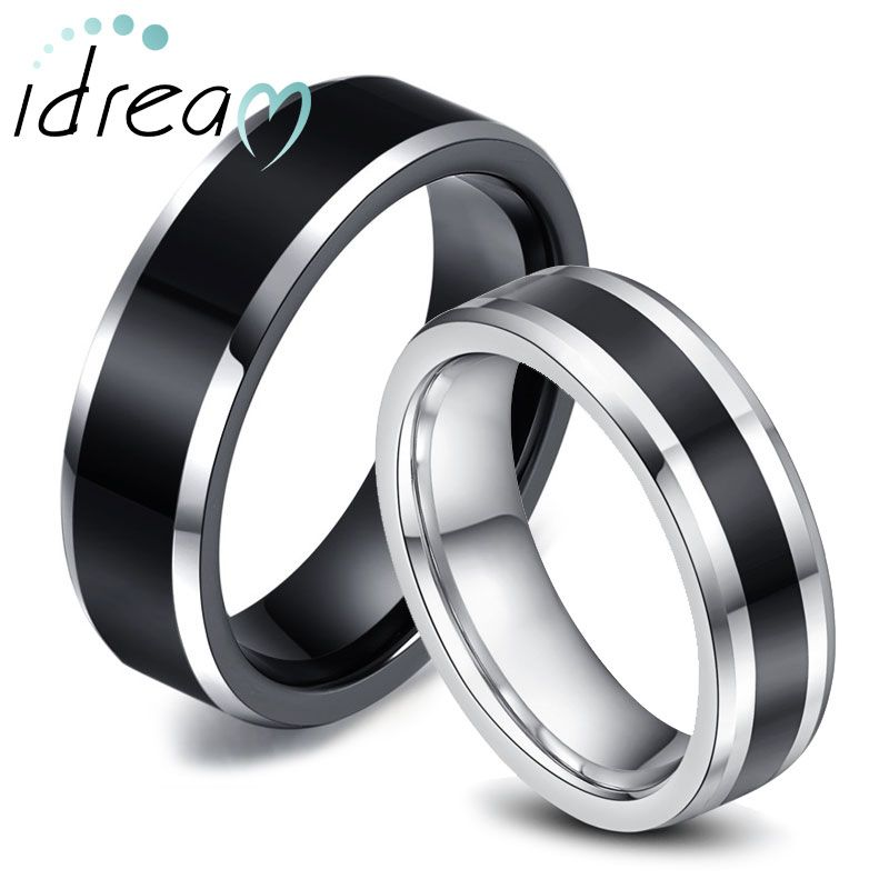 Two Tone Tungsten Wedding Bands Set For Women Men White Black Beveled Edg Tungsten Wedding Bands Tungsten Carbide Wedding Rings Tungsten Wedding Band Sets
