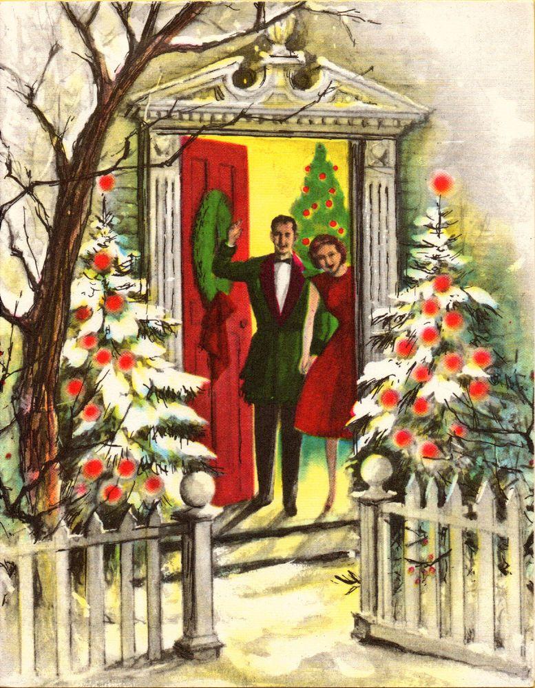 Beautiful Vintage Mid Century Christmas Greeting Card Husband Wife Greetings