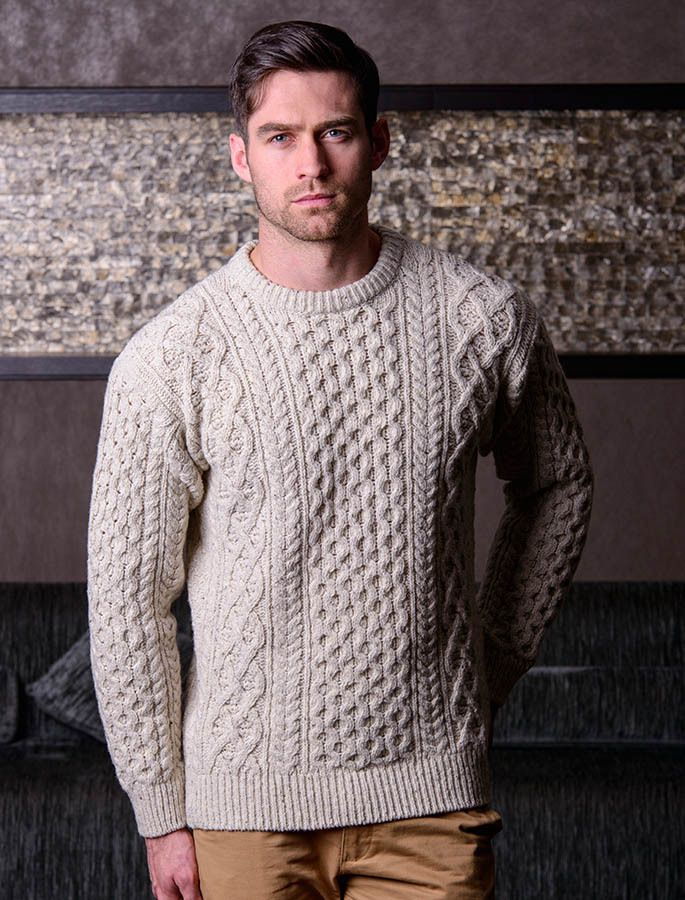 The Aran is a style of jumper/sweater that takes its % Irish Merino Wool Mens Aran Shawl Collar Sweater by West End Knitwear by The Irish Store - Irish Gifts from Ireland.