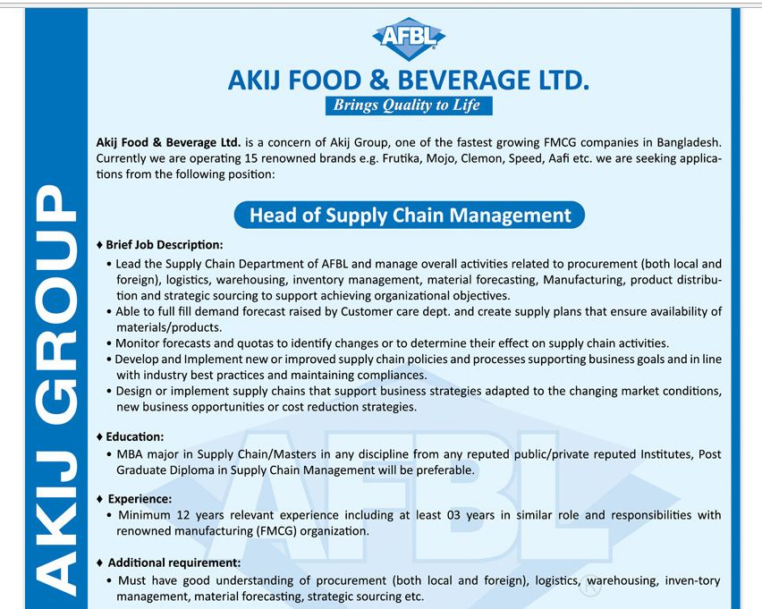 Akij Food  Beverage Ltd  Position Head Of Supply Chain Management