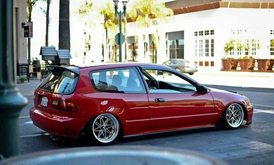 Red eg hatch sitting on some varrestoen equip 03 wheels for Honda eg hatchback