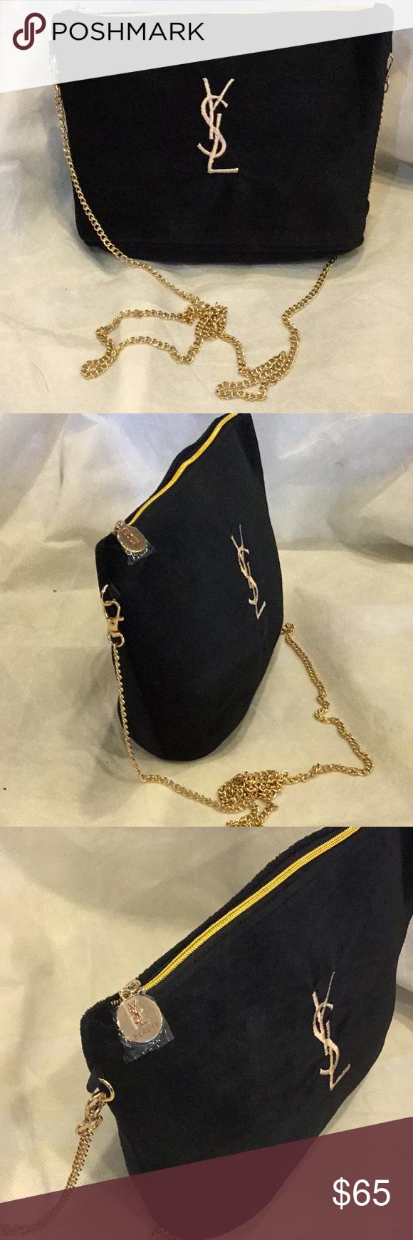 ef6076252dd0 Authentic YSL Cosmetic Makeup Chain Bag VIP Gift YSL Yves Saint Laurent VIP  Gift Black Velvet