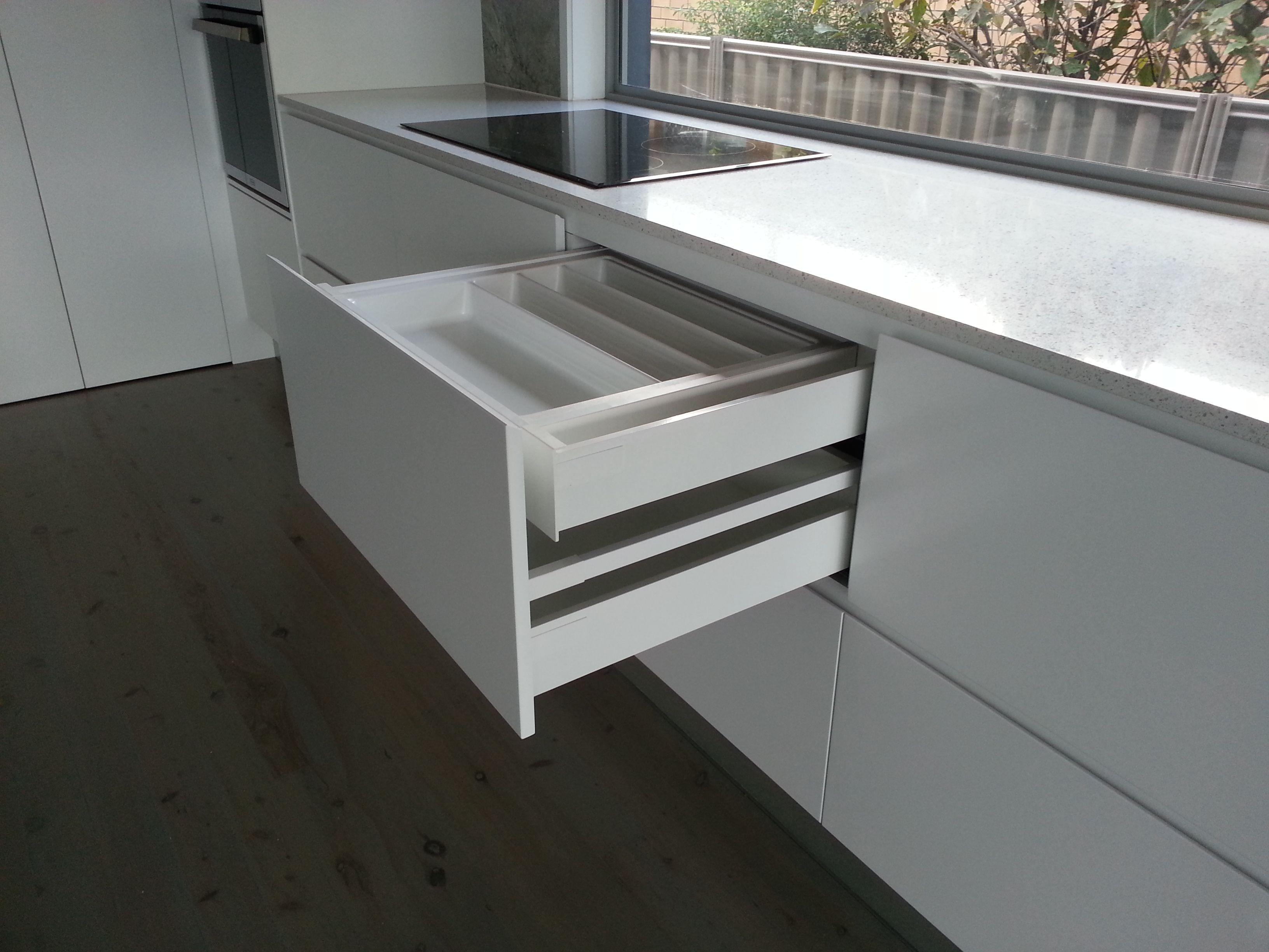 Finger pull drawers Blum hardware  Kitchen Storage ideas