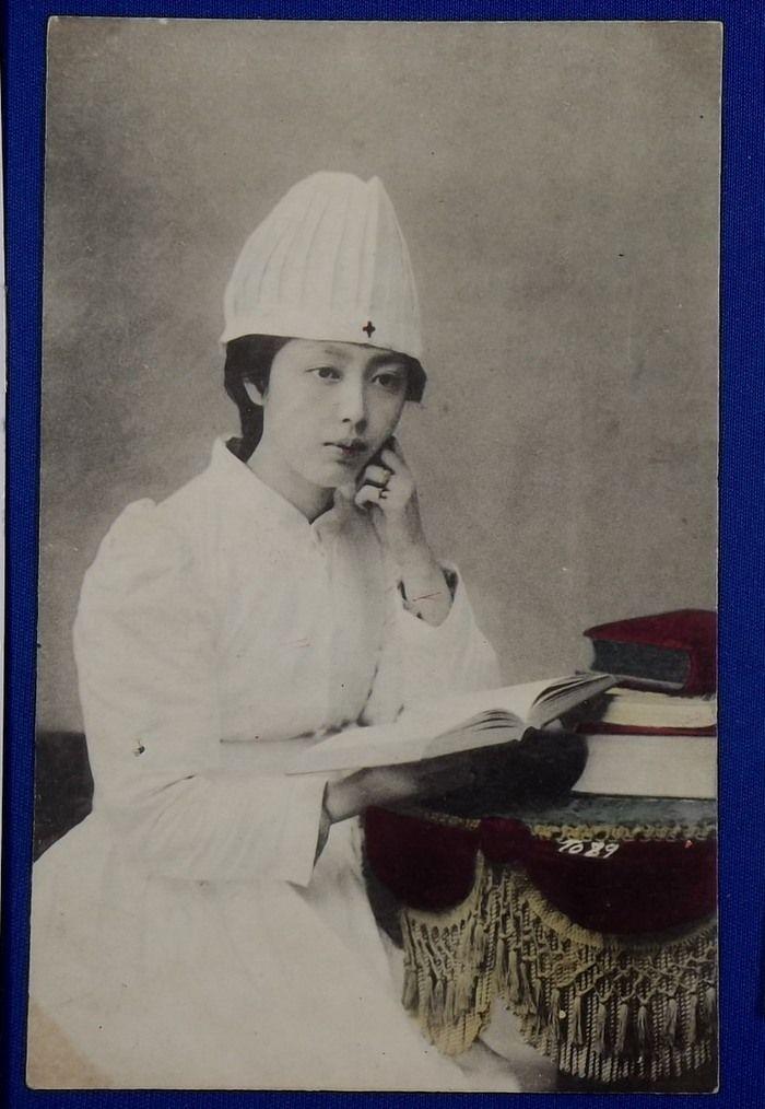 1900's Postcard : Red Cross Nurse Photo at the Russo-Japanese War time - Japan War Art