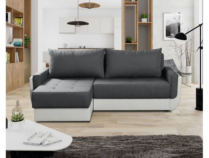 Ecksofa Sofa Sania Mit Schlaffunktion Weiss Grau Ottomane Links Sofa Sofa Mit Schlaffunktion